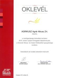 Agrikusz Agrár Alkusz Zrt. - Generali Biztosító elismerő oklevél 2015.