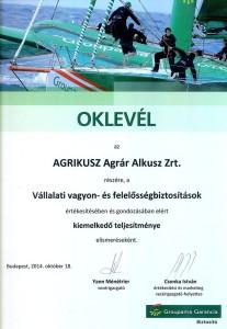 Agrikusz Agrár Alkusz Zrt. - Groupama Garancia Biztosító elismerő oklevél 2014.