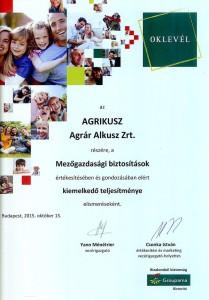 Agrikusz Agrár Alkusz Zrt. - Groupama Garancia Biztosító elismerő oklevél 2015.